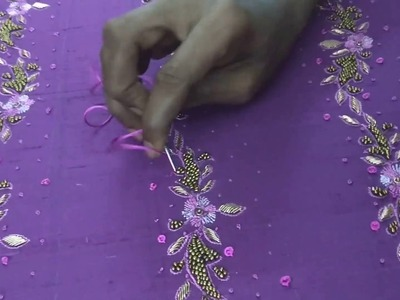 How to create a small flower using bullion knot Embroidery