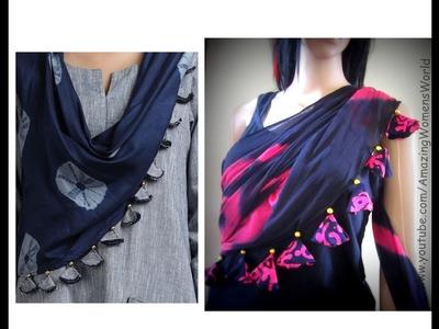 How to design Dupatta. Stole.Sari Edging with Beaded Tassels. Latkans | DIY Ideas
