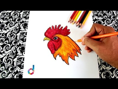 How to draw a Rooster Beak, Crest, Crow's head | Learning to draw for Kids