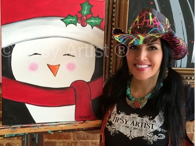 How to Paint a Penguin - A Christmas Penguin by the Tipsy Artist