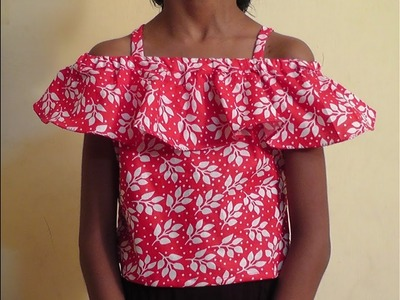 HOW TO SEW OFF SHOULDER RUFFLE TOP WITH STRAPS CUTTING AND STITCHING