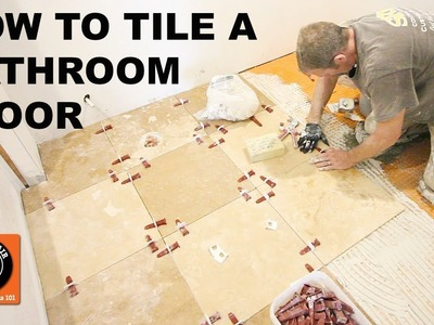 How to Tile a Bathroom Floor. Travertine Tile Over DITRA (Step-by-Step) -- by Home Repair Tutor