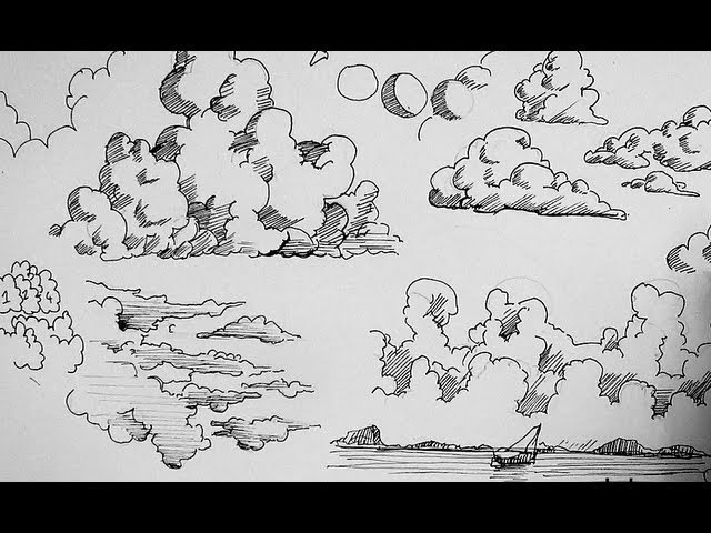 Pen and Ink Drawing Tutorials, How to draw clouds
