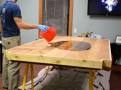 Recycled Cedar Conference Table With High Glaze Epoxy Top Built by Shack Built