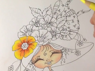 Coloring 'My bestie' part 2 - how to color flowers - prismacolor pencils