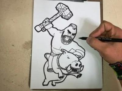 COMO DIBUJAR AL MONTAPUERCOS - CLASH ROYALE. how to draw pig push - clash royale