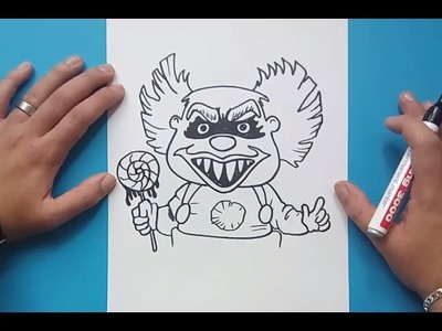 Como dibujar un payaso terrorifico paso a paso | How to draw a horror clown
