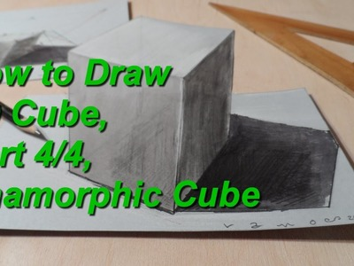 How to Draw 3D Cube - Part 4.4 - Anamorphic Cube - Step by Step Tutorial