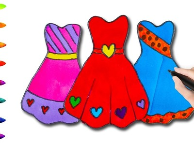 How to Draw Beautiful Dresses for Girls Coloring Pages l Coloring Book Videos For Children