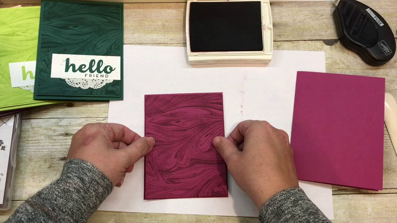 How to make a set of Marbled Cards with Stampin Up's In Colors