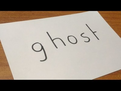 How to turn word GHOST into a cartoon - drawing for kids