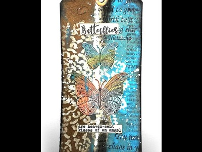 Mixed Media Tag with Rubber Dance, Distress Oxides and the mini round Gelli Plate