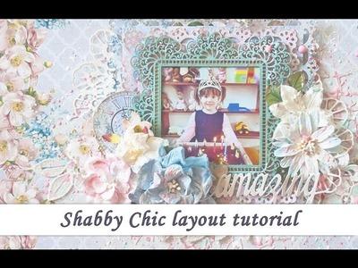 Shabby chic  scrapbooking layout tutorial for Studio75 by Ola Khomenok