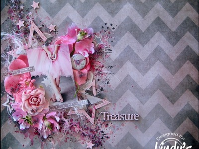 Treasure Mixed Media Layout for Lindy's Stamp Gang by Mary Catt