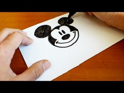Very Easy !  How to Draw a Disney Mickey Mouse - art on paper for kids
