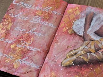 Art journal mixed media tutorial- Ballet acrylic painting.
