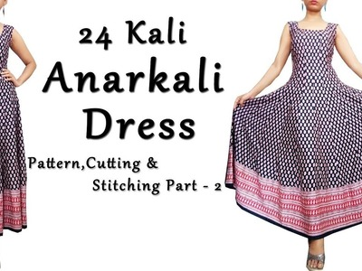 DIY Anarkali Dress with Border |  Anarkali Pattern,Cutting & Sewing Part 2
