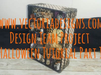 Halloween Scrapbook Mini Album Shadowbox VectoriaDesigns ( Design team project )  part 1