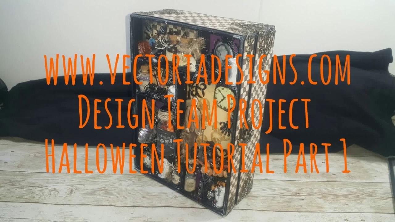 Halloween Scrapbook Mini Album Shadowbox VectoriaDesigns ( Design team project )  part 1