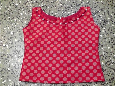 Latest pearl boat neck crop top cutting and stitching.