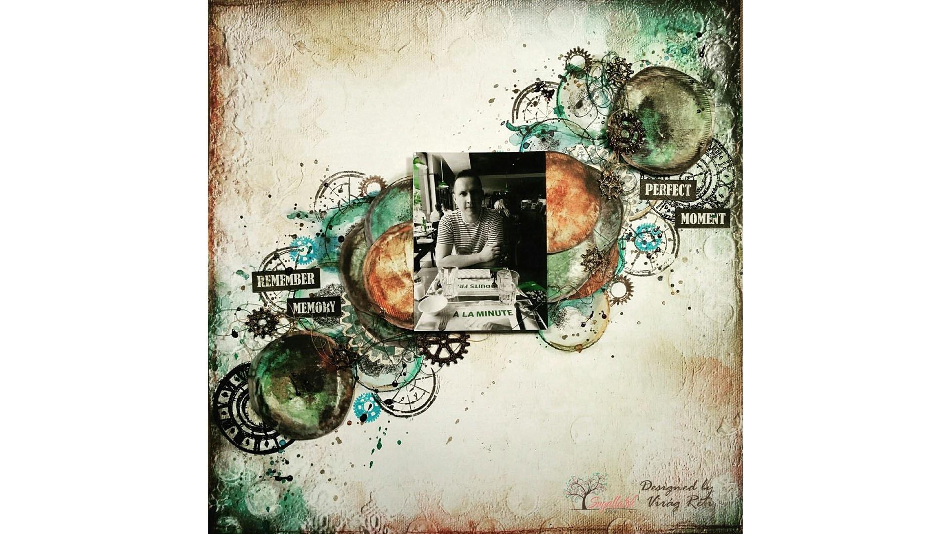 "Virág Réti - Mixed Media Scrapbook Tutorial - #12 - ""Colorful Steampunk Bubbles"""