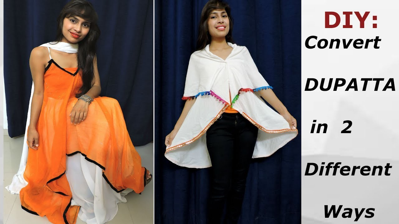 5 Min. Convert.Re-use Old Dupatta.Scarf into 2 Different Ways. Reuse Old Dupatta