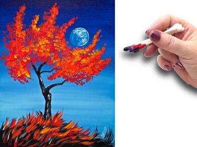 Cotton Swabs Painting Fall Tree for Beginners  ???? ????  Basic Easy Step by step