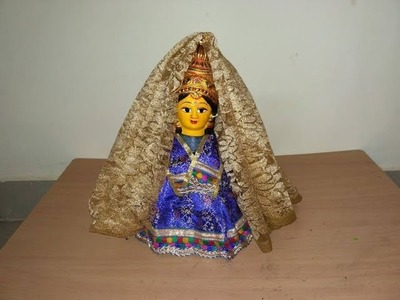 Decorating mata rani for durga puja with help of a bottle