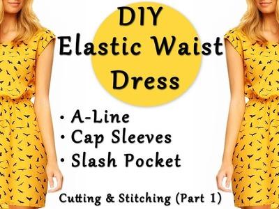 DIY Elastic Waist Dress   A - Line Dress   Cap Sleeves   Slash Pocket Dress