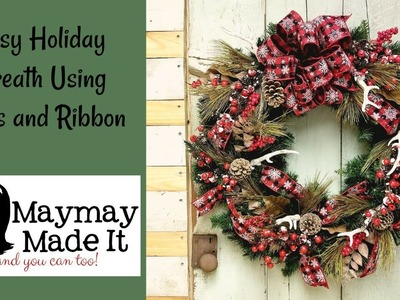 Easy Holiday Wreath Using Picks and Ribbon