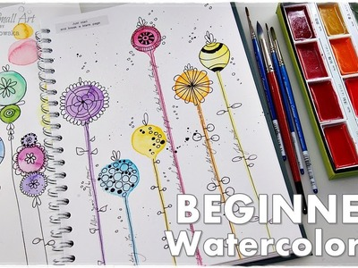 Easy Watercolor Flowers Tutorial for Beginners #3 ♡ Maremi's Small Art ♡