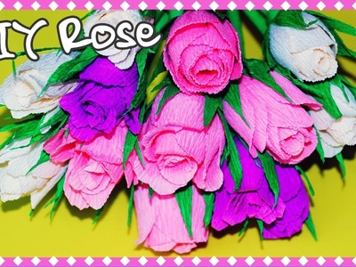 Flowers making | How to make crepe paper rose | DIY paper flowers | Julia DIY