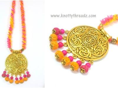 Handmade Jewelry | Easy & Quick DIY Necklace Idea|Antique Festive Collection | www.knottythreadz.com