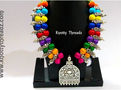 Handmade Multicoloured Silk Thread Necklace | Antique Festive Collection | www.knottythreadz.com