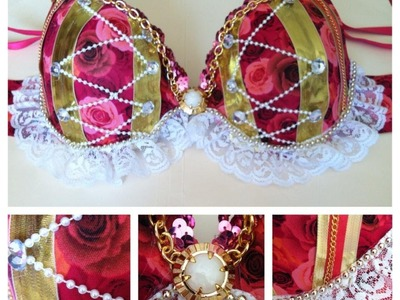 How to make a rave bra : Laced Floral Edition