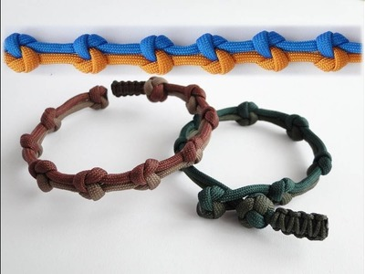 "How to Make a ""True Lovers Knot"" Diamond Knot and Loop Paracord Bracelet-Mini Cobra Closure Pull"