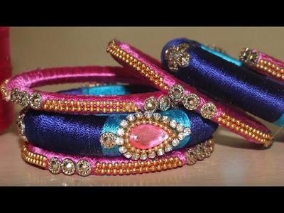 How to make Designer Silk Thread Bangles Set    Silk Thread Bangles New Models 2017