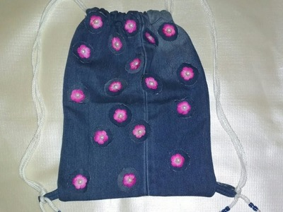 How to make school bag for kids from old jeans.