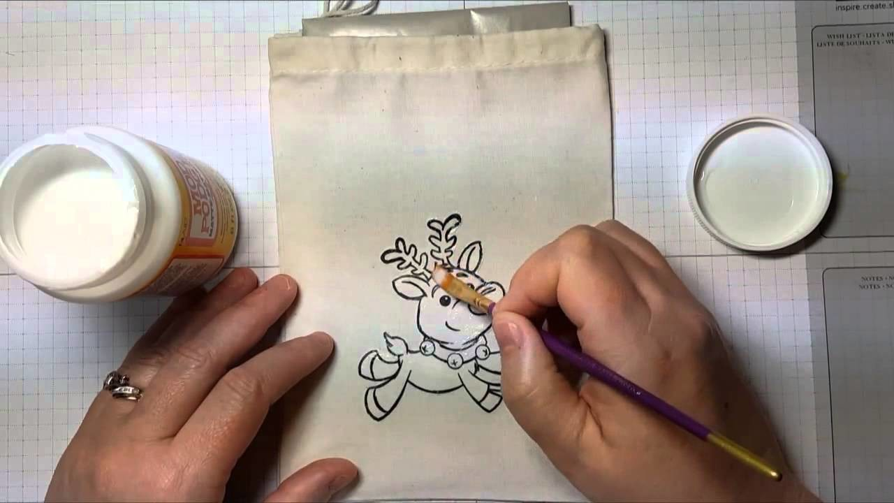 How to Stamp & Decoupage a Muslin Bag