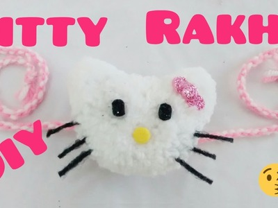 Kitty KIDS. girls  RAKHI making with pom pom (HD video)(ENGLISH SUBTITLE)