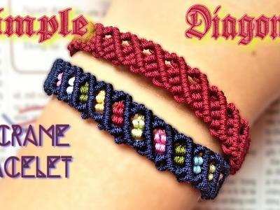 Macrame tutorial Diagonal loop bracelet  - The most easy and simple guide