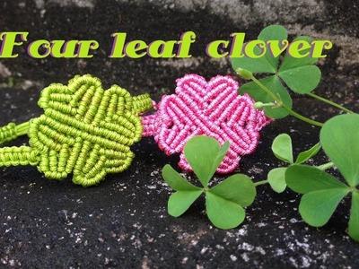 Macrame tutorial - The Simple four leaf clover bracelet - Lucky and cute