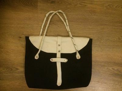 Make a canvas  leather bag part 1
