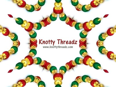 Making of Maroon & Green Silk Thread Antique Necklace | Festive Collection | www.knottythreadz.com