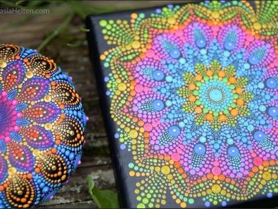 Mandala painting on canvas - timelapse