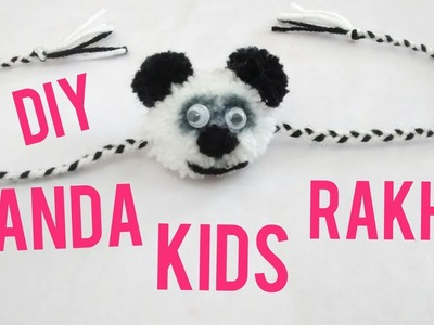 PANDA KIDS RAKHI making with pom pom (HD video)(ENGLISH SUBTITLE)
