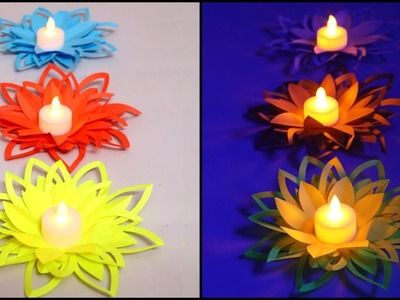 Paper Flower Diya Decoration | DIY Diwali Decorations | Easy Paper Crafts | Little Crafties