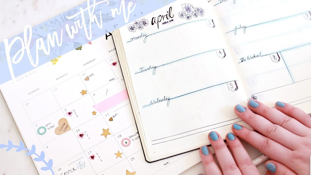 April Rose Calendar : Plan with me april bullet journal filling out my