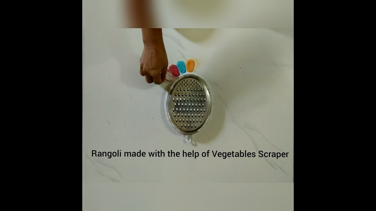 Rangoli made with the help of Vegetables Scraper | Mom's Talent |