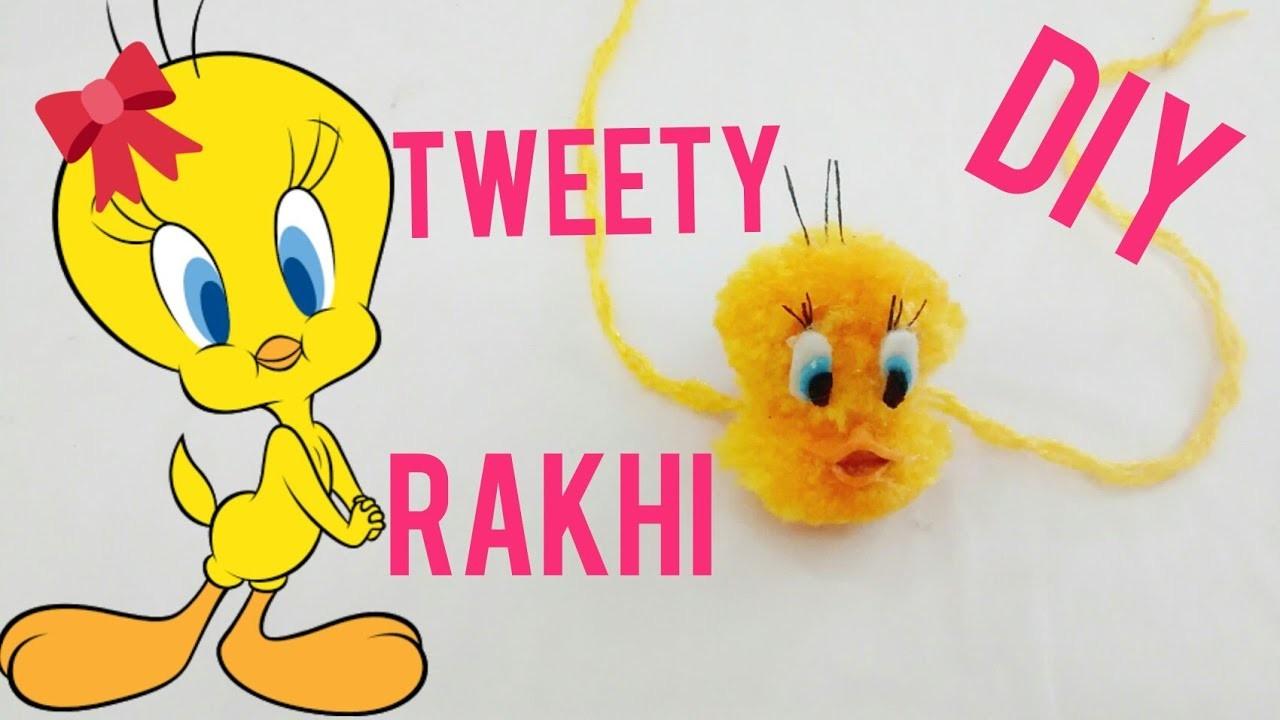 TWEETY KIDS. GIRLS RAKHI making with pom pom (HD video)(ENGLISH SUBTITLE)